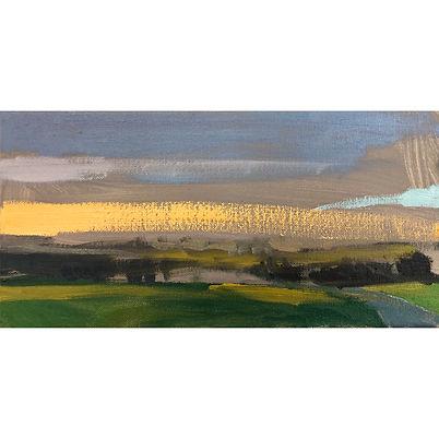 Landscape With Orange Sky , Dominic Parczuk, Artist, Painter, Lincolnshire, Landscape painting