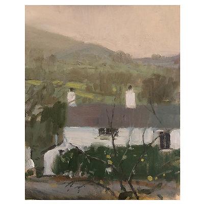 White Cottage, Dominic Parczuk, Artist, Painter, Lincolnshire, Landscape painting