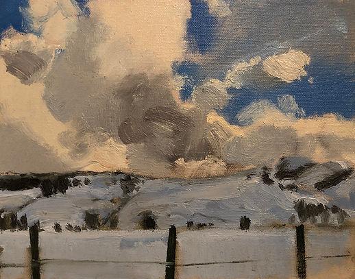 Fleeting Snow Clouds, Dominic Parczuk, Artist, Painter, Lincolnshire, Cloud paintings