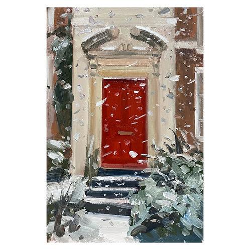 Scarlet door and snow. 29.5x20cm
