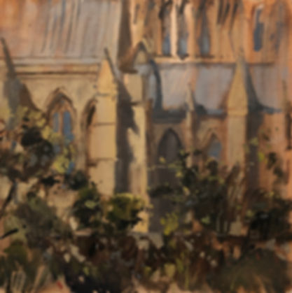 Cathedral Garden, Dominic Parczuk, Artist, Painter, Lincolnshire, Cathedral painting