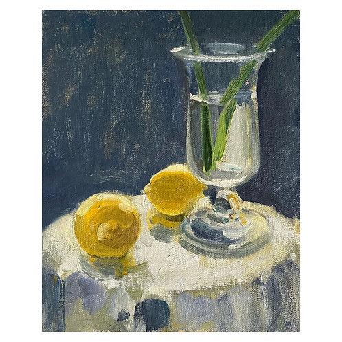"Lemons and Celery glass. 8x10"""