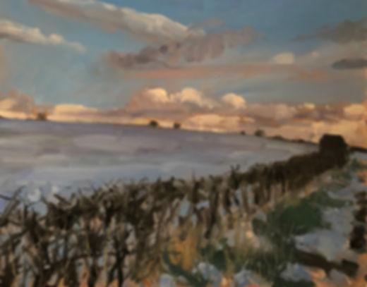 Snow At Dusk, Dominic Parczuk, Artist, Painter, Lincolnshire, Cloud paintings