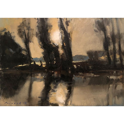 Low Sun, Dominic Parczuk, Artist, Painter, Lincolnshire, water painting