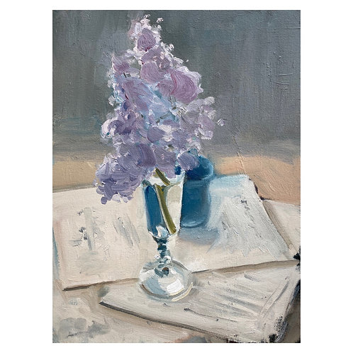 """Lilac and Sheet Music. 12x16"""""""