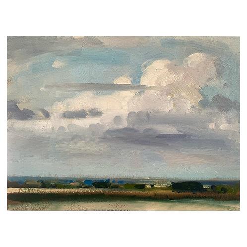 """Landscape with Cumulus clouds . 12x16"""""""