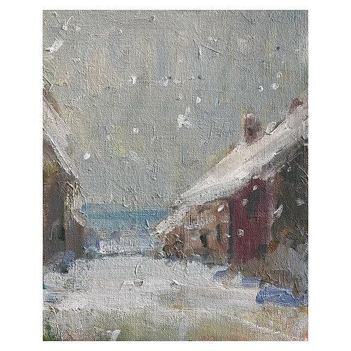 "Village Snow. 8x10"""