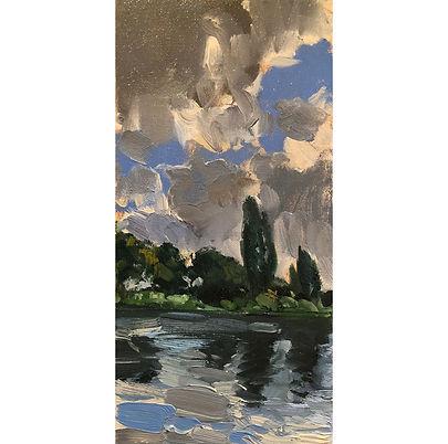 River Bank Study, Dominic Parczuk, Artist, Painter, Lincolnshire