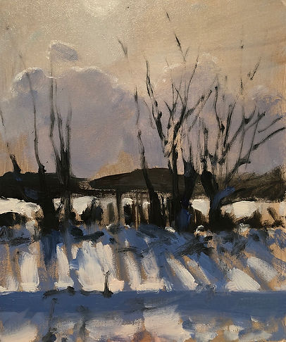 Winter Light, Snow, Oil Painting,  Dominic Parczuk