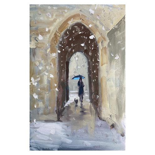 A walk in the snow. 30x20cm