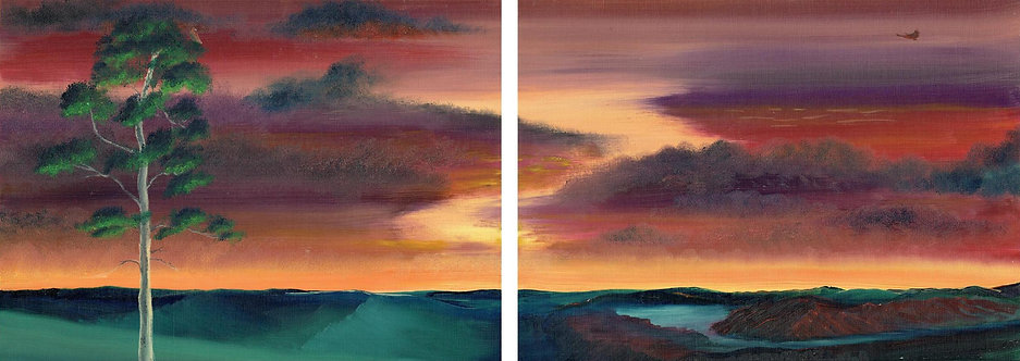 Eagles at Dusk (Diptych)