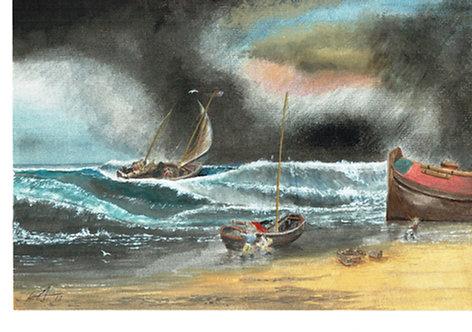 A coast scene with fishermen (After JMW Turner)