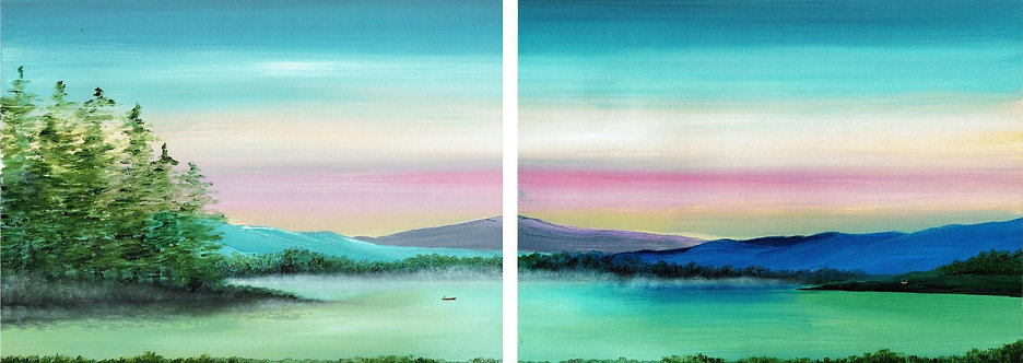 Fishing at Dawn (Diptych)