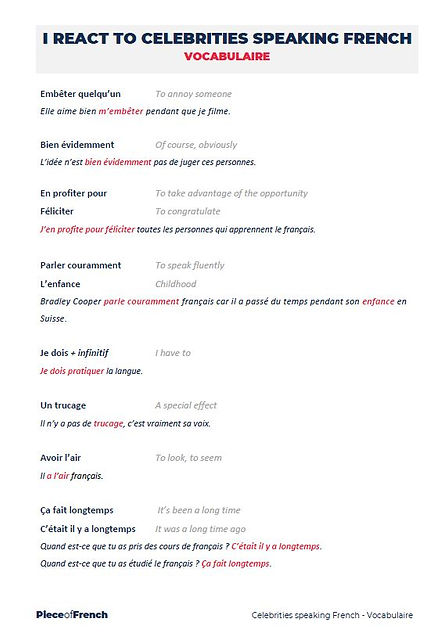 Vocabulairy french