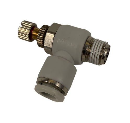 Air Fitting - 90 Degree Adj. Valve - 6mm Tubing x 1/8 PT Thread