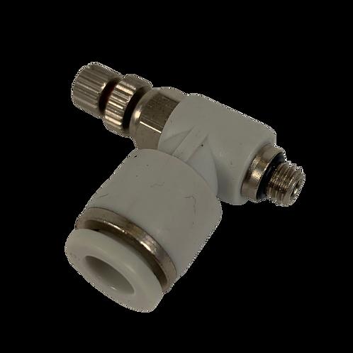 Air Fitting - 90 Degree Adj. Valve - 6mm tubing x M5 Thread