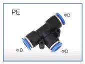Air Fitting - TEE - 6mm Tubing
