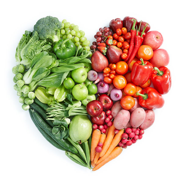 heart shape by various vegetables and fr