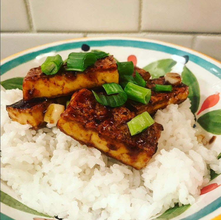 Seared Korean BBQ Tofu and Sticky Rice