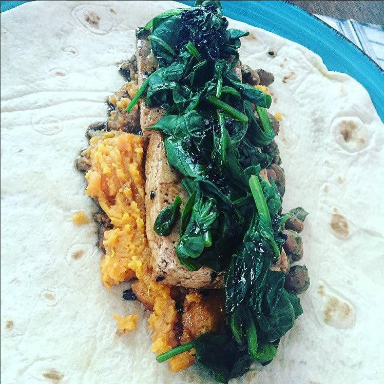 Healthy Balsamic Sweet Potato & Tofu Burrito