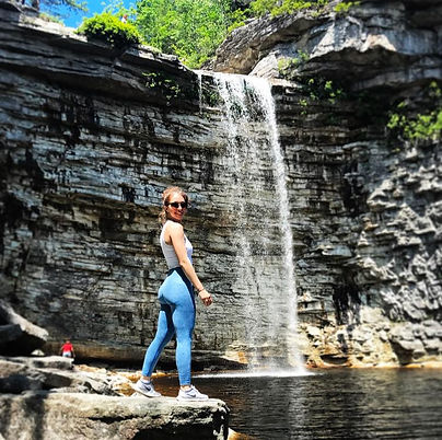 Fit Girl at Waterfall
