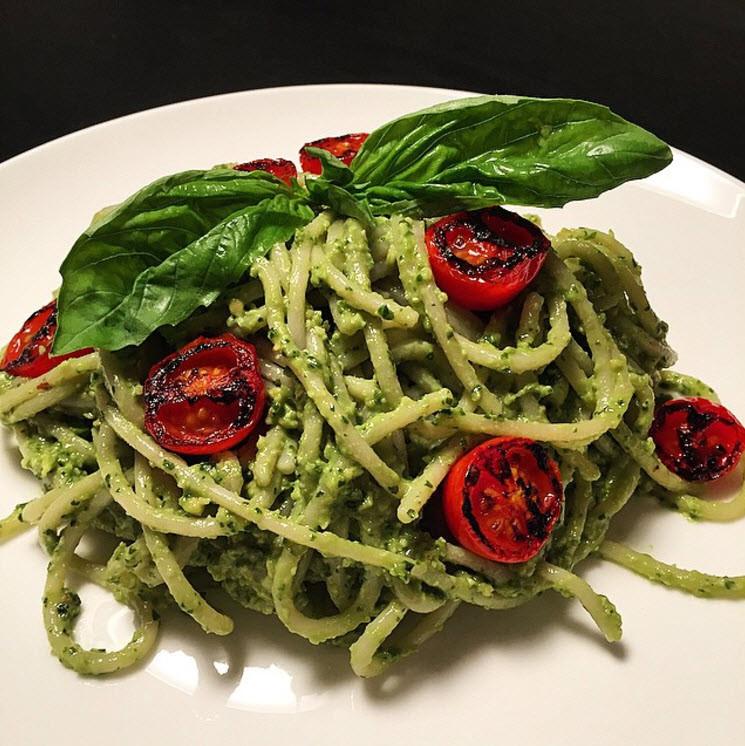 Healthy Avocado Pesto Pasta with Charred Cherry Tomatoes