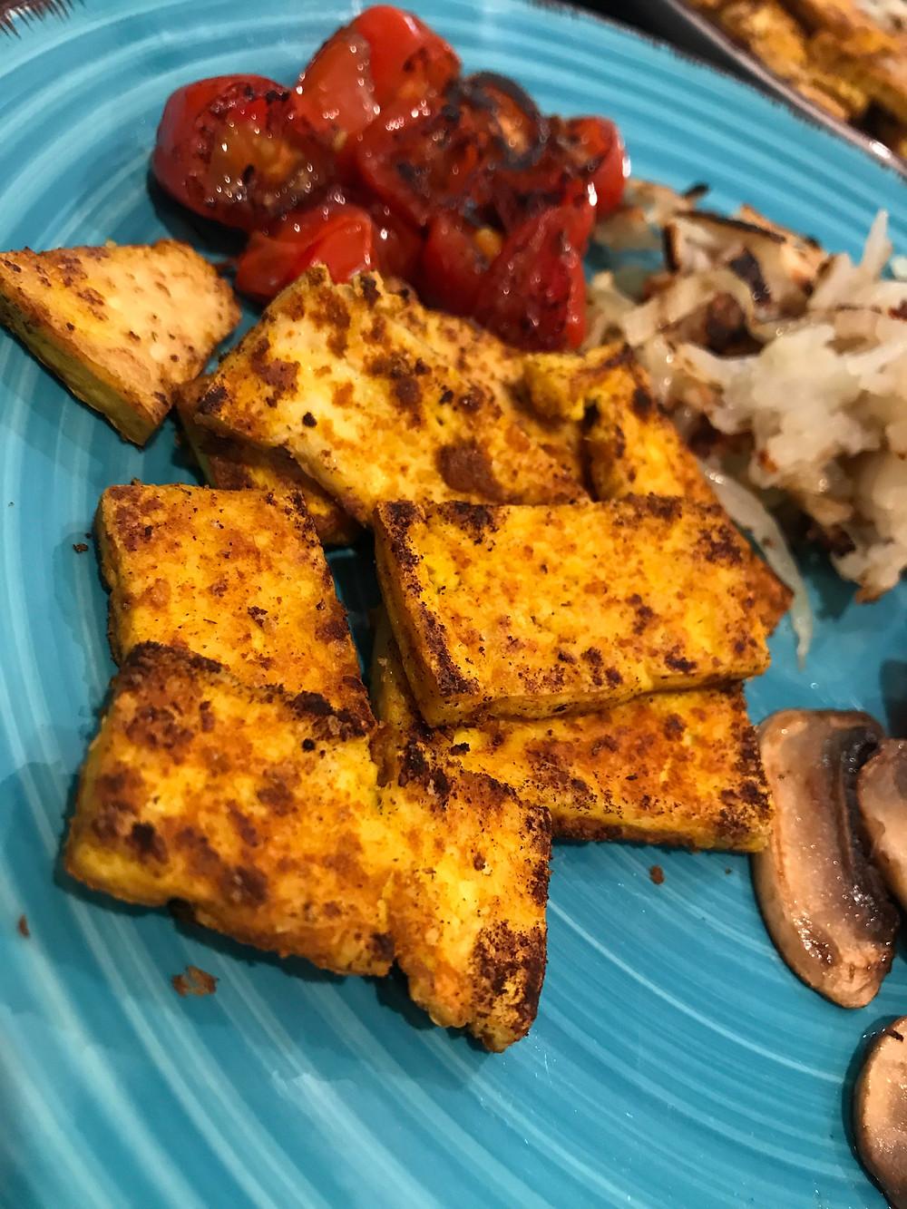 Healthy Vegan Low-Fat Breakfast Tofu
