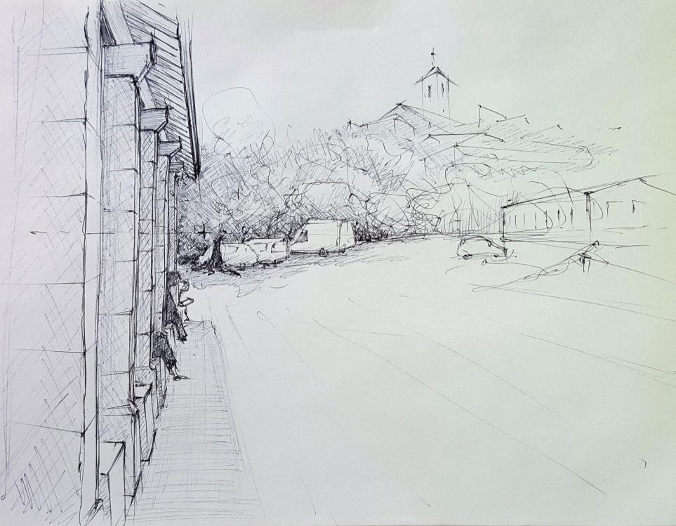 La Halle de Coux - dessin sur site