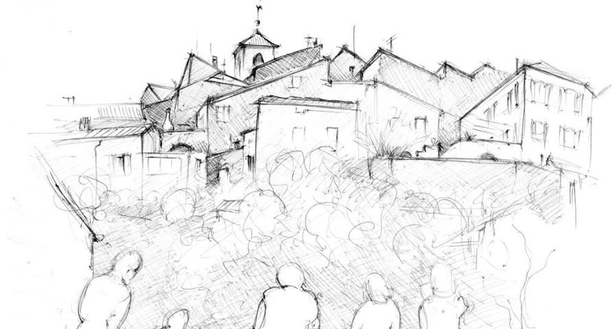 Village de Coux - dessin sur site