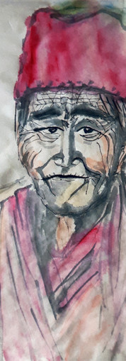 Portrait au chapeau rouge et vert - papier maïs 34*35