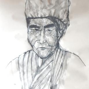 Portrait vieil homme encre noire sur papier maïs 34*35