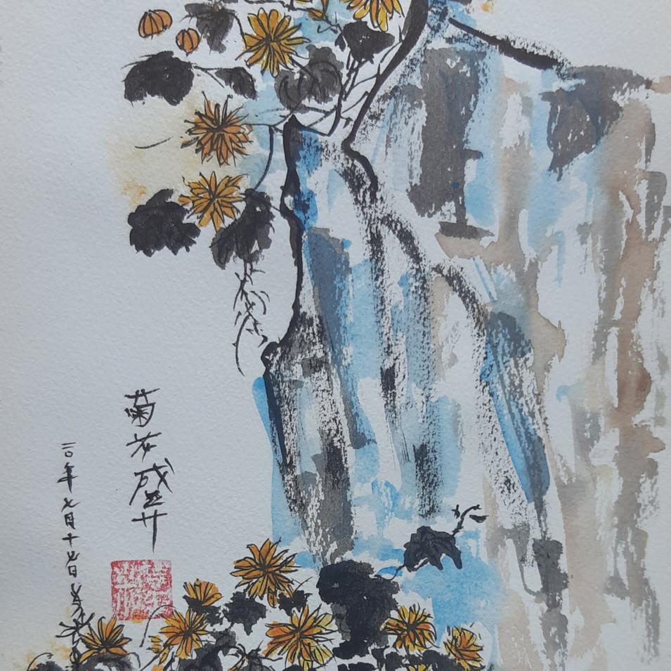 Chysanthème florissant. 23*31 papier torchon