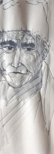Portrait encre noire sur papier maïs 34*35