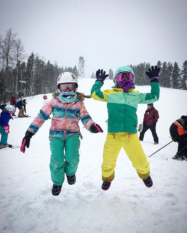 Jumping for joy because it's SNOWING and warm!!! #kamiskotia #kamiskotiasnowresort #jumpingforjoy #l