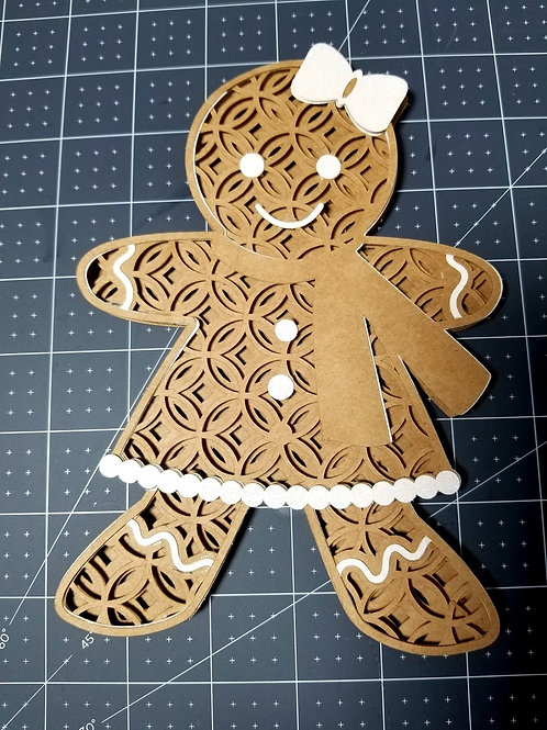 Papercut 3D Gingerbread Man  Card/ Artwork
