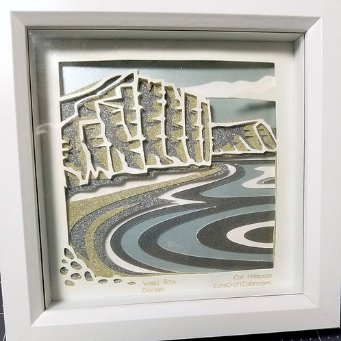 Bridport/ West Bay (BroadChurch), Dorset. 3D Papercut layered Landscape