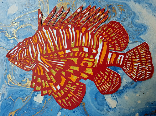 Lion Fish Scorpion Fish Papercut Ocean Art