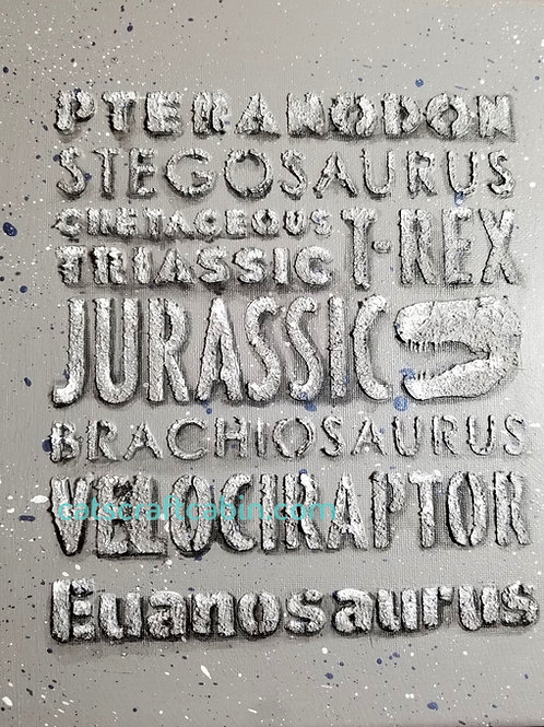 Age of Dinosaur Word Art 3D fossil texture canvas - ADD NAME PERSONALISE - T-Rex