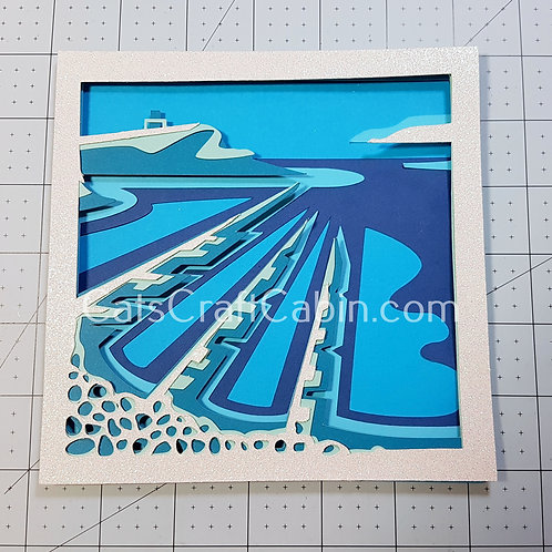 Kimmeridge Bay/ Cavell Tower, Dorset. 3D Papercut layered Landscape