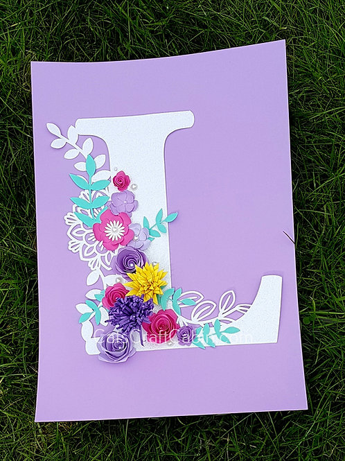 3D Floral Initial Letter Artwork Paper Cut Rose Card