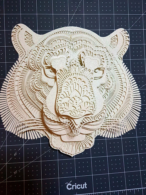 3D White Tiger Head PaperCut Mandala Trophy Head