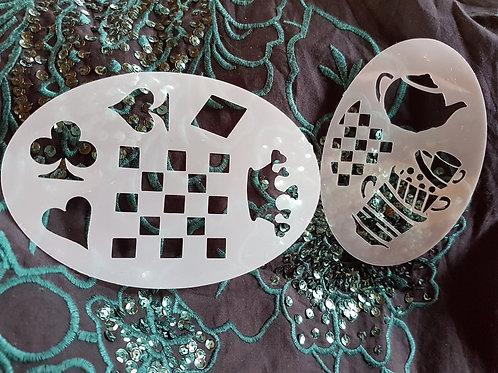 Alice Wonderland Card Suits Chess stencil