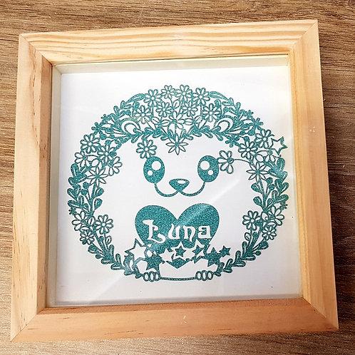 Hedgehog Cute Floral PaperCut Art