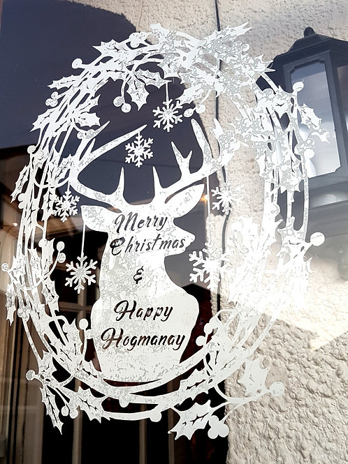 Christmas Stag Window Cling Sticker