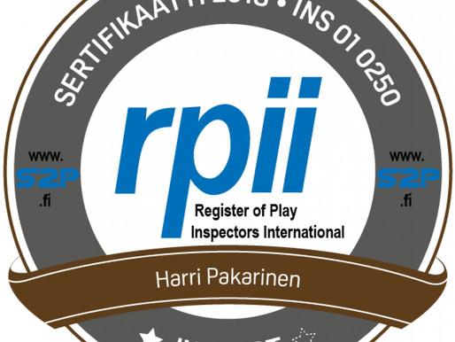 Leikkialueiden tarkastajan sertifikaatti myönnetty Uudenmaan Imupalvelu Oy:n Harri Pakariselle.