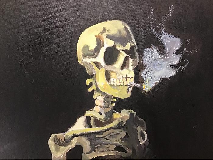 Smoking Skeleton - Acrylic paint.png