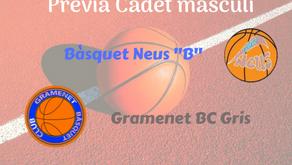 "Prèvia Derbi colomenc Cadet masculí 2019-2020: Bàsquet Neus ""B"" - Gramenet BC Gris"