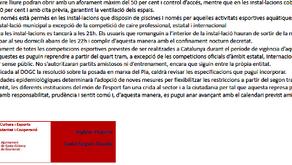 Comunicat de l'Ajuntament de Santa Coloma de Gramenet referent a les noves mesures a l'esport