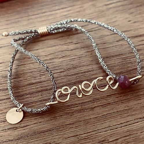 "Bracelet ""Say it"" PEARL rubis et saphir  cordon métallisé"