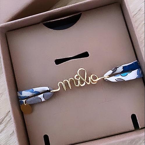 Bracelet à message sur cordon Fleuri